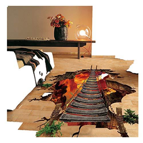 Timogee 3D Flammen Boden Wandaufkleber Entfernbar Wandgemälde Decals Vinyl Kunst Wohnzimmer