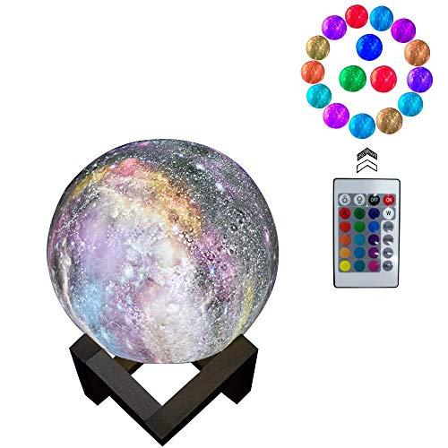 Lámpara 3D Moon Light - 16 Colores Lámpara Galaxy Moon 3D Con Soporte, Carga USB, Control Remoto Y Decoración De La Sala Táctil Para La Fiesta De Cumpleaños Regalos Para Niños/Aniversario
