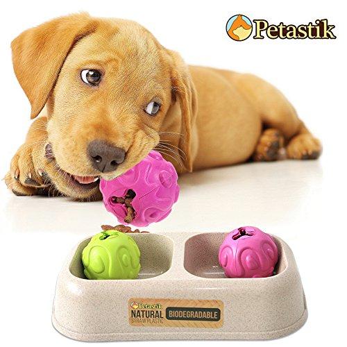 Treat Bälle x 2und biologisch abbaubar Doppel Schüssel Premium Qualität Doppel Fressnapf für kleine/Big Hunde von petastik (Hundespielzeug, China)