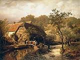 Kunstdruck/Poster: Andreas Achenbach Westfälische Wassermühle - hochwertiger Druck, Bild, Kunstposter, 80x60 cm