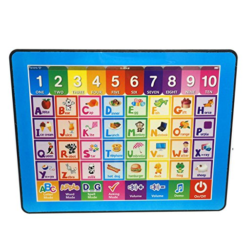 Cooplay Y-pad Easy Pad Touch Screen Tablet Study English Educational Music Computer Spelling Letters Words Quiz Teaches Learning Abc ipad Electronic Toys For Kids Baby Gift (Blue)