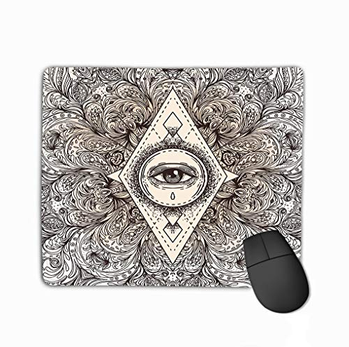 Mousepad Custom Design Gaming Mouse Pad Rubber Oblong Mouse Mat 11.81 X 9.84 Inch All Seeing Eye Ornate Round Mandala Pattern Mystic Alchemy Occult Concept Design Music Cover Boho Poster Flyer -