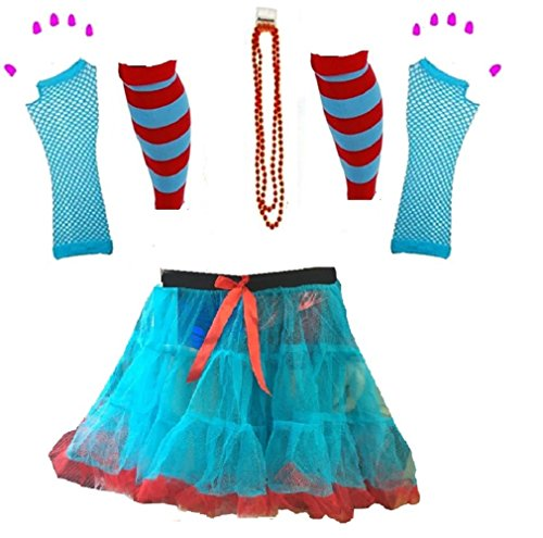 Momo&Ayat Fashions Kids Boys Girls Thing Red Turquoise Theme 1 & 2 Book Week Costume- Pick & Mix (Tutu Set 6, Onesize - Age 5-10 - Filme Cartoon Halloween-kid