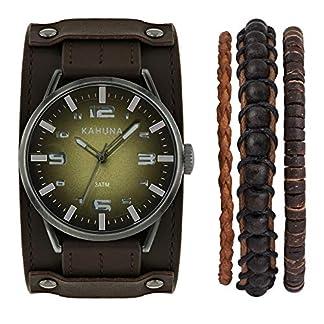 Kahuna AKUS-0055G – Reloj de cuarzo para hombre, con correa de cuero, color marrón