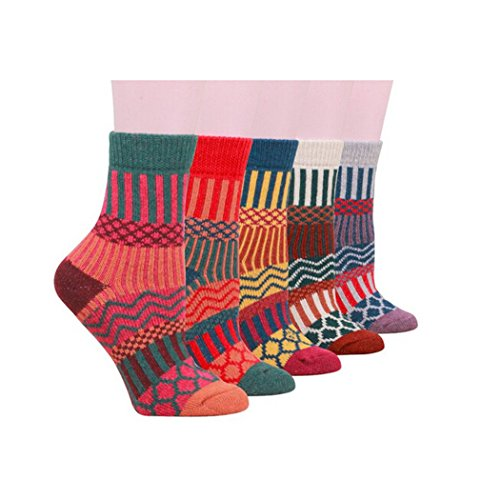 Deal of The Day Santwo Colorful Stripe Warm Wool Blend Knited Hold-up Boot Ankle Socks 1-5 Pairs Size - UK 4-7 (5 Pairs)