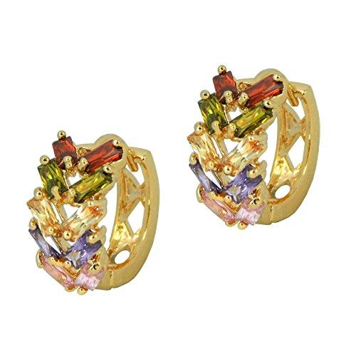 Hot trendy cerchio stile-placcato oro Foglia Orecchini di cristallo multicolore in confezione regalo - Hot Diamonds Cerchio Orecchini