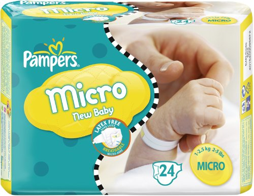 Pampers Windeln New Baby Gr.0 Micro 1-2.5kg Tragepackpack, 24 Stück