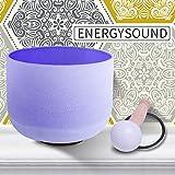 ENERGYSOUND 432 Hz Perfect Pitch B note Chakra della corona Ciotola di canto color cristallo di quarzo smerigliato viola 20 cm --- Yoga Therapy Sound Healing