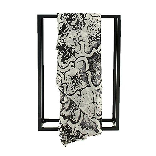 IRRANI Femme écharpe de laine mode léger châle à franges Noir
