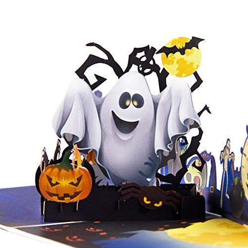 is Halloween Karte, Verbesserte Farbe Druck/und Ghost 3D handgefertigte Grußkarte mit Notiz-Karte und Umschlag–15,2x 15,2cm Cover (Halloween-drucke)