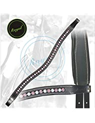 Royal Designer White & Pink linked U-Shaped Crystal Brow Band.