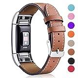 Mornex für Charge 2 Armband, Echte Leder Armbänder, Unisex Ersatzband mit Metall Konnektoren(5,5