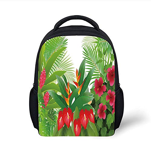 Kids School Backpack Leaf,Tropical Exotic Forest Hibiscus Red Ginger and Anthurium Flowers,White Dark Green and Hot Pink Plain Bookbag Travel Daypack -