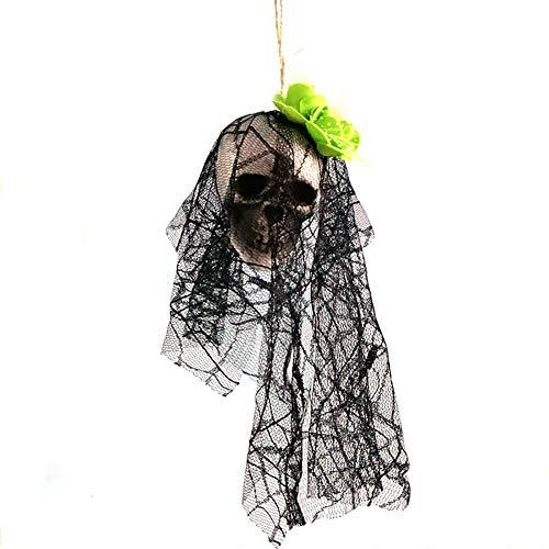 Ogquaton Premium-Qualität Halloween Schädel hängen animierte Geister-Skelett mit schwarzer Spitze und Blumen Stütze Spukhaus gruselig Dekoration grün