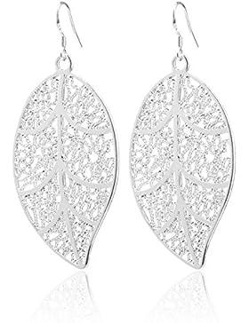 2LIVEfor Versilberte Ohrringe Blatt Silber groß Blätter Ohrringe lang hängend Ornamente Elegant Vintage Oval Tropfen