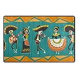My Daily Day of The Dead Traditioneller mexikanischer Halloween-Teppich, 91 x 152 cm, für Wohnzimmer, Schlafzimmer, Küche, dekorativ, Leichter Schaumstoff-Teppich 20