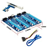 Rokoo Kit d'extension PCI-E X1 TO 4PCI-E X16 1 à 4 ports PCI Express Switch Multiplier HUB Riser Card pour BTC Miner