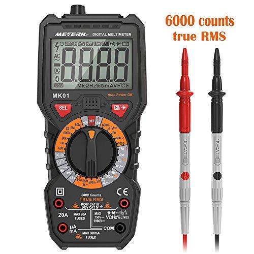 Multimeter Meterk Digitales Messgerät mit 6000 Counts Voltmeter AC DC NCV Live Wire Temperatur Messung Multi Tester Anti Kurzschluss True RMS mit Flashlight hintergrundbeleuchtetem großer LCD-Anzeige