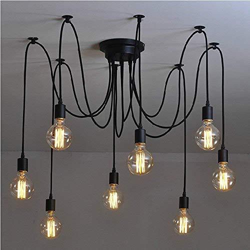Signstek Deckenleuchte Lamp Industrial Vintage Stil Schmiedeeisen Large Semi Flush verwenden 8 E26 / 27 Edison Lampen in Schwarz für Studierzimmer Wohnzimmer Schlafzimmer (elegant 8)