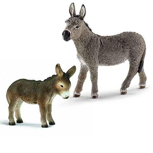 Preisvergleich Produktbild Schleich Eselfamilie - Eselstute und Fohlen 13772 13268 2er Set