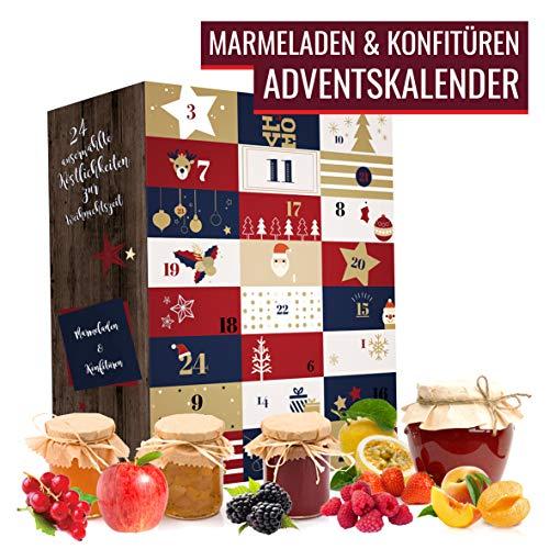 Marmeladen Konfitüren Adventskalender I Weihnachtskalender mit 24 edlen & abwechslungsreichen Fruchtaufstrichen I Kalender als Geschenk für Erwachsene I Geschenkset in der Weihnachtszeit Adventszeit