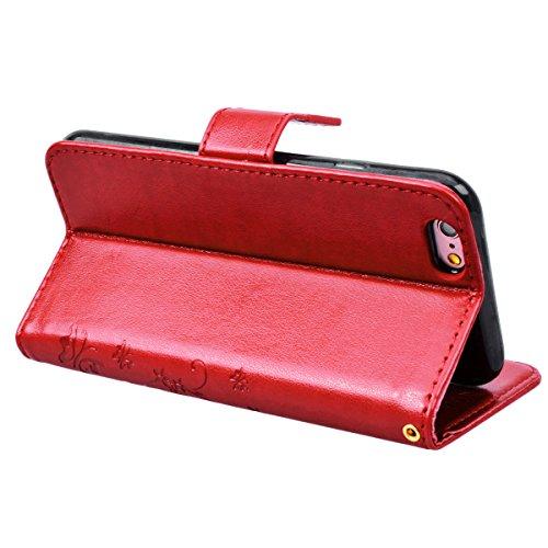SMART LEGEND iPhone 6 Plus/iPhone 6S Plus Hülle Lederhülle Schmetterling Weinstock Premium Schutzhülle Wallet Case Rot Muster Handyhülle Design Etui Brieftasche Ledertasche mit Handschlaufe Neu Zubehö Rose Rot