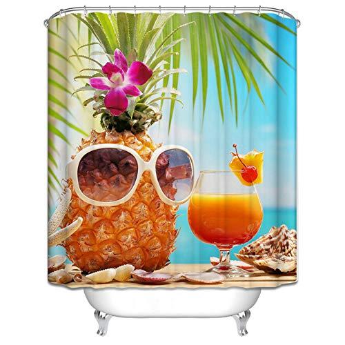 Beydodo Badvorhang Vintage Sommer Ananas mit Sonnenbrille Obstssaft 3D Duschvorhang Antischimmel 120x180 cm