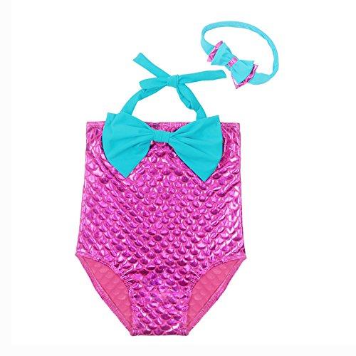 EnzoDate Mädchen Bademode mit Stirnband 3T-7T, Baby Schwimmen Anzug Meerjungfrau Muster, Kinder Badeanzug (110CM(3-4Y), Lila rot blau)