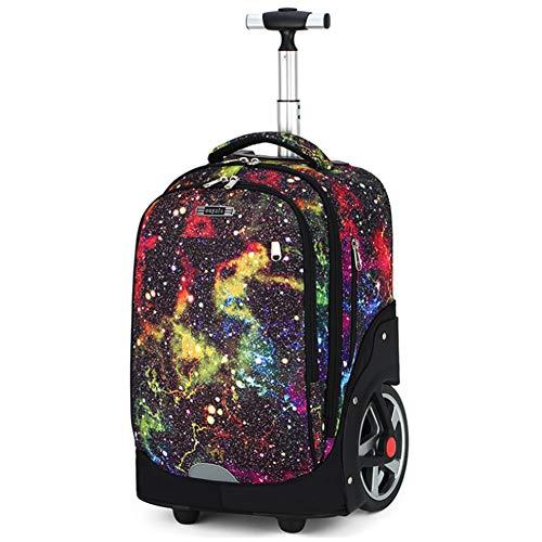 NXLWXN Zaino Trolley con Ruote per Studenti, di Medie Dimensioni, con Doppia Barra, Impermeabile, da Viaggio, per Laptop,C,OneSize