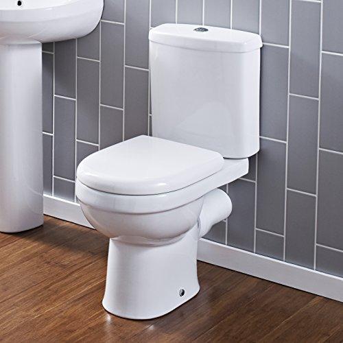 Hudson reed - sanitario bagno wc modello monoblocco moderno con vaso, cassetta e sedile (ceramica bianca, scarico orizzontale)