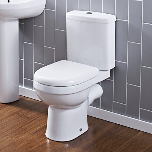 Hudson Reed Pack de WC Completo con Inodoro Cisterna con Salida Horizontal Moderno con Tapa
