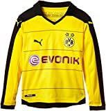 PUMA Kinder Trikot BVB Long Sleeve Home Replica Shirt with Sponsor, Cyber Yellow/Black, 176, 748001 01