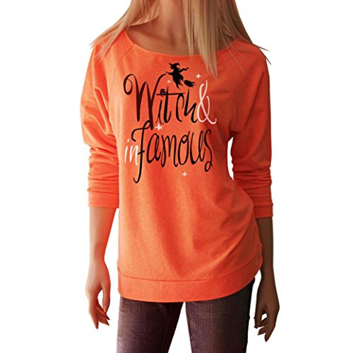 Halloween Frau Hexe T-Shirt Lange Hülse Tops Bluse_Hirolan (XL, Orange) (Katzen Kostüme Kit Adult Kostüme)