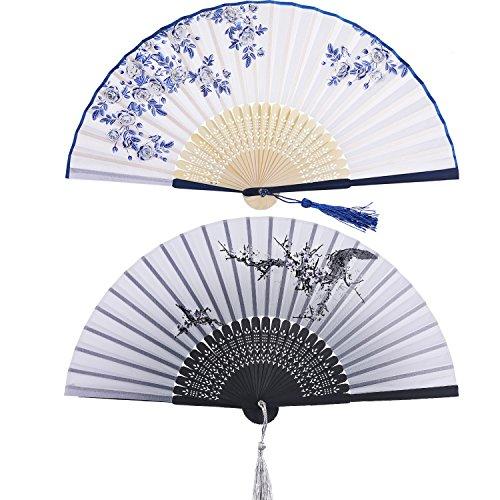 2 Stücke Folding Fans Hand Fans Bambus Fans mit Quaste Frauen Ausgehöhlten Bambus Hand Halten Fans für Wanddekoration, Geschenke (Blaue Rose und Schwarz Kirsche Pattern) -
