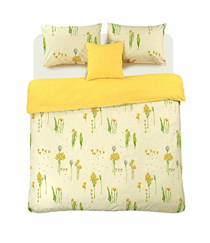 Summer Breeze Floral 100% Cotton Duvet Cover Wild Flowers Reversible Cream Yellow Bedding Set (Single)