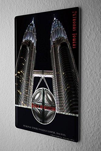 cartel-de-chapa-placa-metal-tin-sign-gira-mundial-arquitectura-torres-petronas-letrero-de-metal-20x3
