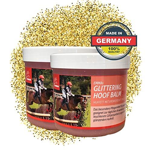 EMMA ♥ SPARSET Hufgel Glitzer Huffett - Hufpflege l für Hornwachstum I trockene Hufe I für gesunde Hufe, Strahl & Horn I Hufsalbe für Hufwachstum 2 mal 500 ML