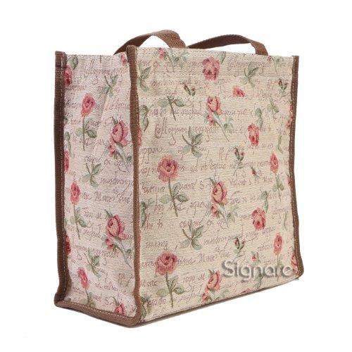 Signore/ragazze Shopping Bag a tracolla in tela Mattina Giardino Design Rosa rosa