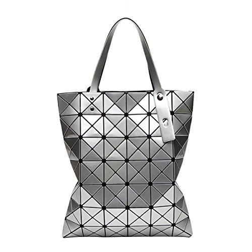 Frauen Variety Folding Schultertasche Handtasche Geometrie Laser-Tasche Silver