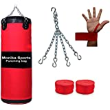 Monika Sports Unfilled Boxing Kit Red Black 36 (Boxing Hand Wraps And Punching Bag With Chain)