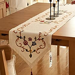 ZJM-camino de mesa El corredor retro de la tabla del estilo chino borda para la mesa del comedor / del té ( Color : Beige , Tamaño : 240x40cm )