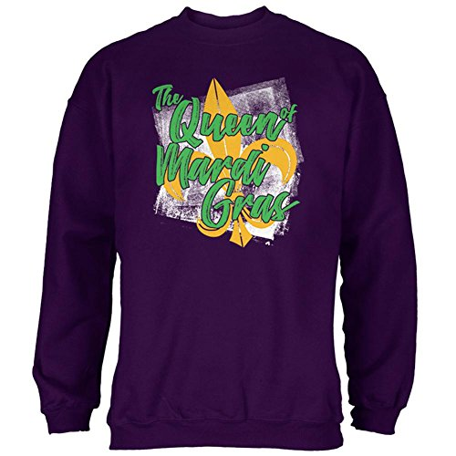 The Queen of Mardi Gras Mens Sweatshirt Purple 2XL (Fleur Mens Tee)