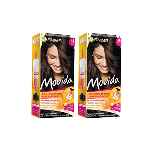 garnier movida coloration temporaire sans ammoniaque chtain 45 chtain fonc lot de 2 - Coloration Cheveux Sans Ammoniaque Et Sans Oxydant