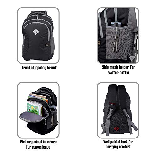 JAPSBAG 30 Ltrs Casual Waterproof Laptop Backpack Bag for Men Women Boys Girls/Office School College Teens & Students with Free RAIN Cover (Black) Image 8