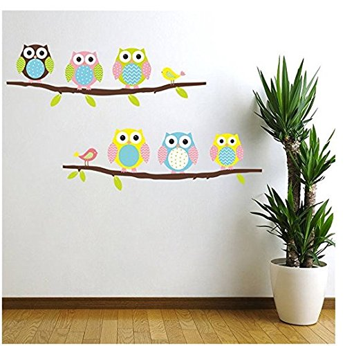 Cartoon cute sechs Eule auf dem Baum DIY Wand Tapete Aufkleber Art Dekor Mural-Kinderzimmer Decal ()
