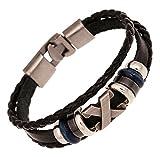 AIUIN 1X Retro Brazalete Logotipo X Pulsera de Cuero Trenzado para Hombre Pulsera Decorativa(Negro)