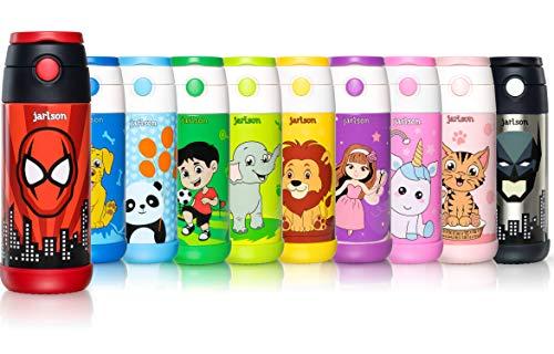 Jarlson borraccia bambini acciaio inox, bottiglia termica, senza bpa, bottiglia acqua con cannuccia, termos 350 ml