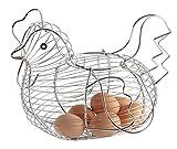 Eierkorb in Form eines Huhns, aus verchromtem Draht