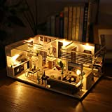 ToDIDAF Wooden Dollhouse 3D DIY Miniature House Furniture LED House Puzzle Educational Toy for Kid Birthday Valentine's Day for Bedroom Home Garden Decor - Mini Apartment (with Dust Cover)