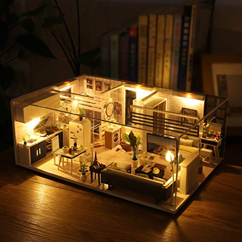 ToDIDAF Wooden Dollhouse 3D DIY Miniature House Furniture LED House Puzzle Educational Toy for Kid Birthday Valentine\'s Day for Bedroom Home Garden Decor - Mini Apartment (with Dust Cover)